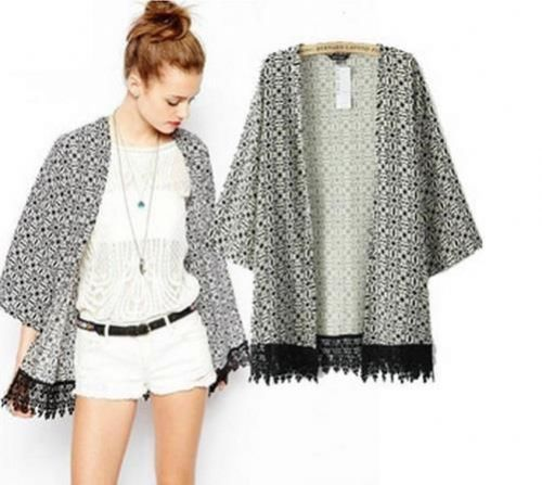 Women Kimono Cardigan Long Sleeves Tassel Hem Jacket Coat